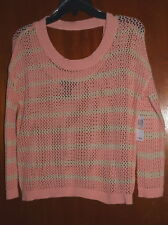 New Sweater Project Top Pink Cream Stripe 3/4 Sleeves Low Open Back Neck Size M
