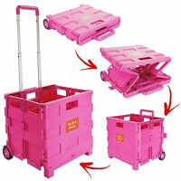 Folding Boot Cart Shopping Trolley Pull Handle Large Rolling Storage Box Tidy