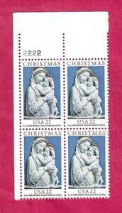 SCOTT 2165 22 CENT 1985 CHRISTMAS MADONNA PLATE BLOCK - $1.85 AND FREE SHIPPING