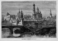 KREMLIN AT MOSCOW ANTIQUE ENGRAVING MOSCOW ARCHITECTURE