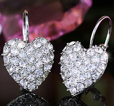 White Gold Plated Dangle Heart Earrings use Swarovski Crystal SE106