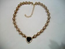 NOLAN MILLER Signed NECKLACE Faux Pearl Beads Crimson & Clear Austrian Crystal