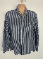MEN FAT FACE SIZE LARGE BLUE WHITE STRIPE CASUAL LONG SLEEVE CREW NECK SHIRT TOP