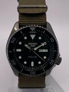 Seiko 5 Sports Men's Auto Gun metal Black Dial Khaki Nylon Strap Watch SRPD65K4