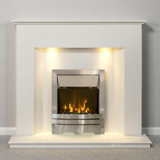 WHITE MARBLE MODERN SURROUND SILVER ELECTRIC FIRE FIREPLACE SUITE DOWNLIGHTS 2kW