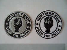 2 Northern Soul Patches Keep The Faith Iron / Sew On Parka Patch Mod Scooter