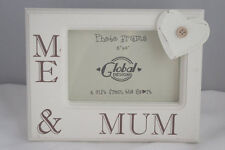 "Me and Mum Photo Frame Picture Heart Wooden Cream 6x4"" ideal Mothers Day F0580A"