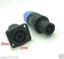 2 Set 4-pole Locking Speaker Cables Socket 4pin Plug for DJ Pro Audio Equipment