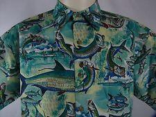Kahala Mens Hawaiian Camp Shirt Blue Painted Fishing Fish 100% Cotton Medium USA