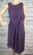 NWT Simply Vera Wang Dress Medium Plum Purple Pleated Asymmetrical Modern Bloom