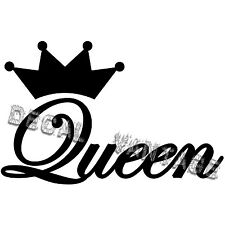 Queen Script Text Crown Vinyl Sticker Decal - Choose Size & Color