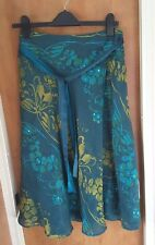 MONSOON Ladies Green Silk Blend Skirt - Size 12 Summer Holiday Party