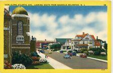 "WILDWOOD NEW JERSEY NJ ""ATLANTIC AVE SOUTH FROM MAGNOLIA"" UNUSED LINEN POSTCARD"