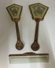 Vintage Brass 3 piece Brush , Mirror and comb set circa 1950