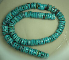 """Turquoise 10mm Rough Cut Heishi Beads Natural Green Colors 16"""" Std Craft # 923"""