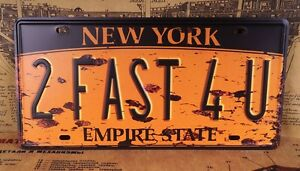 New York 2 Fast 4U Bar Decor Vintage License Plate Tin Metal Signs Wall Poster