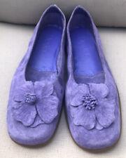 DEXTER Women's Purple  Suede Leather Flower Ballet Flats Shoes Size 6.5M EUC