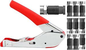 Compression F Connectors &  Compression Tool wf65 ct63 shotgun Twin Sky Q Cable