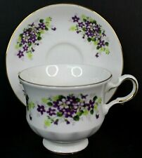 Queen Anne Vintage Bone China Tea Cup and Saucer Purple Flowers England 8625