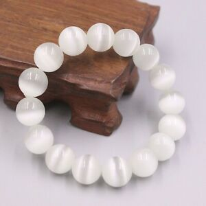 "New White Cat Eyes Stone (Quartz) Luck 12mmW Round Beads Bracelet 6.7""L"