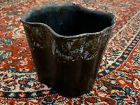PIONEER CERAMICS OF CALIFORNIA MID-CENTURY PLANTER VASE BLACK DRIP GLAZE ART EUC