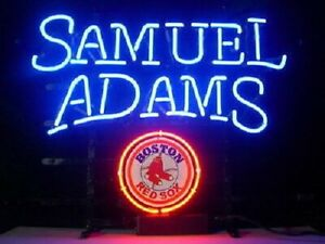 "Samuel Adams Boston Red Sox Neon Lamp Sign 20""x16"" Bar Light Beer Glass"