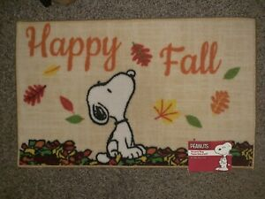 Snoopy Happy Fall Thanksgiving Leaves Rug Peanuts Accent Rug Mat 18x30