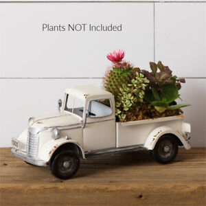New Farmhouse Shabby AGED WHITE ANTIQUE VINTAGE TRUCK PLANTER Model Display