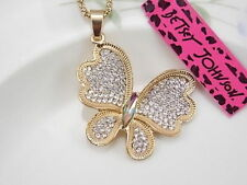 Betsey Johnson Fashion Jewelry Cute inlay Crystal Butterfly Pendant Necklace #J