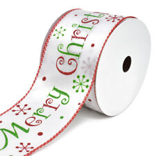 Satin Merry Christmas Wired Christmas Ribbon, 2-1/2-Inch, 10-Yard