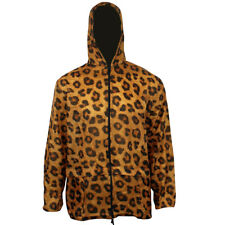 Ladies Womens Printed Hooded Kagool Kagoul Cagoule Rain Jacket Raincoats Funky Leopard Print UK 14-16
