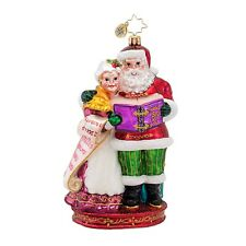 Christopher Radko 1016901 Quite A Team - Santa and Mrs Claus with List Ornament
