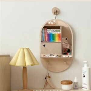 Korean Style Wooden Wall Hanging Dressing Table Mirror For Home Decoration Props