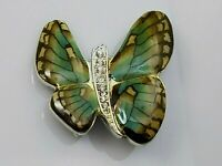 Vintage Green Yellow Enamel Butterfly Brooch Pin Clear Rhinestone Silver Tone
