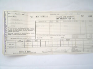 Vintage State and County Tax Receipt for 1953 Stephens County Texas