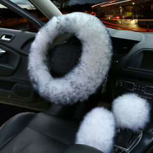 3pc Fur Car Steering Wheel Cover White Black Tip Wool Furry Fluffy Thick Winter