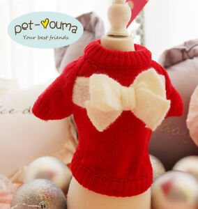 XS S M Girl Dog Knit Sweater Winter Coat Pet Clothes for Maltese Teacup Yorkie