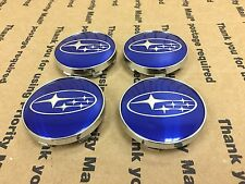 NEW SUBARU SET OF 4 CENTER WHEEL WHEELS RIM RIMS HUB HUBS CAP CAPS 60MM BLUE