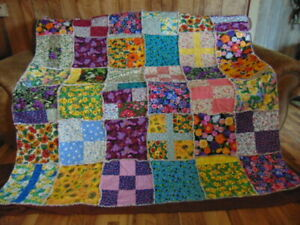 """Hand-crafted Patchwork Rag Quilt / XL Throw Flowers Floral 72"""" x 72"""""""