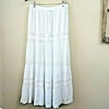 Romantic White Boho Peasant Long Prairie Skirt Lace Tiers Maxi Cotton MED