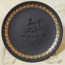 Vintage 1971 Wedgwood Jasperware Black Basalt Mother's Day Plate Black Gold