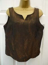 GEORGE Ladies Size 14 Brown Floral Evening Cruise Formal Occasion Vest Top NWOT