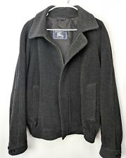 Burberry of London 100% Wool Charcoal Gray Lightweight Mens Spring Bomber Jacket