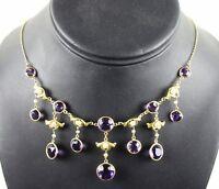 ANTIQUE! Edwardian 14K Gold Festoon Amethyst Gemstones & Baroque Pearl Necklace