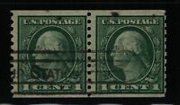 1914 Coil pair Sc 452 used perf 10 vert. CV $55