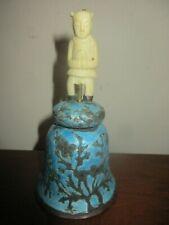 VINTAGE ANTIQUE CHINESE BLUE ENAMEL SILVER METAL BELL, BONE MAN FIGURAL HANDLE