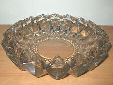 KIG INDONESIA DIAMOND CUT CRYSTAL ASH TRAY CANDY DISH BOWL - HEAVY VINTAGE