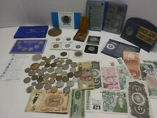 Junk Drawer lot Foreign Coins & Currency Notes Vintage Collectible Commemorative