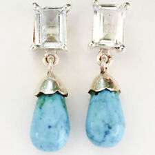 """925 Sterling Silver 24cts Natural Aquamarine & Turquoise Stud Earring Size 1"""""""