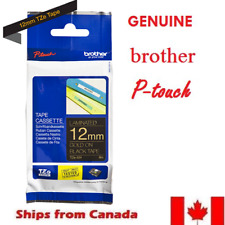 GENUINE BROTHER P-Touch RIBBON TAPE LABEL 12mm TZe-334 GOLD on BLACK   - 8m